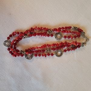 3 Red Strands and Metal Charms Necklace